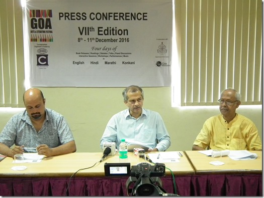 the GALF is regional and children's literature. (L to R) Organisers Vivek Menezes, Yatin Kakodkar and Damodar Mauzo