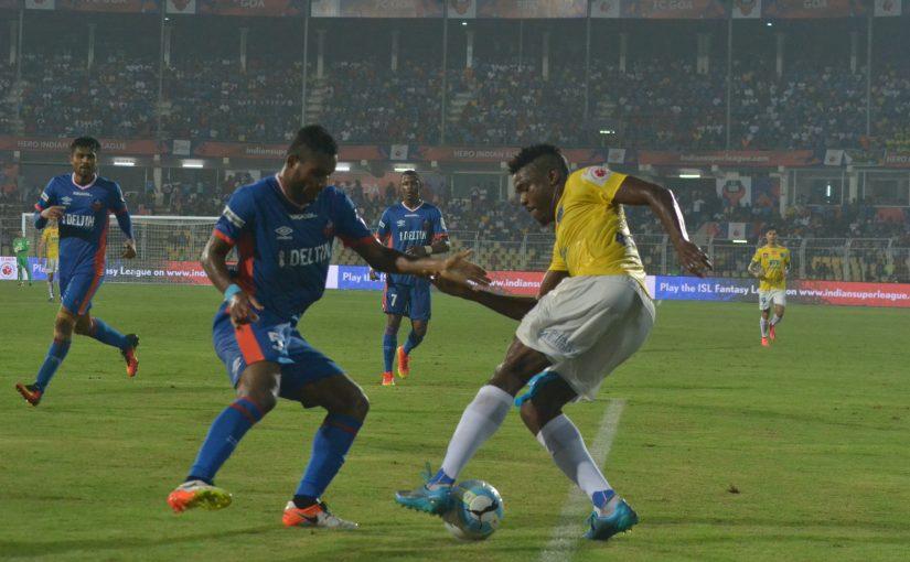 BATTLE: FC Kerala goal scorer Kervens Belfort tackles FC Goa