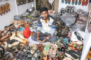 POPULAR: Leather footwear, plain and ornamental, at the festival.