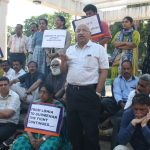 NOT BHARATIYA SANSKRITI! Dakshinayan Abhiyan members, friends and well-wishers, got together at the Municipal garden in Panjim on March 9, 2017, to support the on-going Delhi university students' struggle for freedom of expression. One-time union leaders in Goa Prashant Naik, Dr Oscar Rebello, Datta Damodar Naik and others expressed their outrage over the despotic and hypocritical treatment unleashed on a Kargil martyr's daughter Gurmehar Kaur in Delhi by the Narendra Modi government (Pic by Tara Narayan)