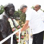 """TETE-E-TETE WITH DR BABASAHEB AMBEDKAR! Chief Minister Manohar Parrikar took time off to garland and talk it over with Bharat Ratna Dr Babasaheb Ambedkar's statue at the Kadamba Bus Terminal garden on March 14, 2017. Wonder what Manohar bab had to say to """"Father of the Constitution"""" Dr Babasaheb Ambedkar on his 126 birth anniversary! The CM was accompanied by Legislative  Assembly speaker Dr Pramod Sawant and Tourism Minister Manohar Ajgaokar"""