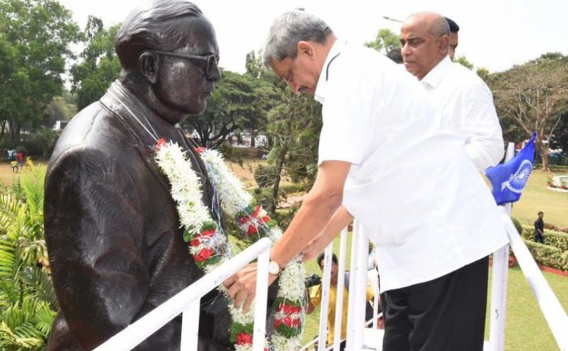 "TETE-E-TETE WITH DR BABASAHEB AMBEDKAR! Chief Minister Manohar Parrikar took time off to garland and talk it over with Bharat Ratna Dr Babasaheb Ambedkar's statue at the Kadamba Bus Terminal garden on March 14, 2017. Wonder what Manohar bab had to say to ""Father of the Constitution"" Dr Babasaheb Ambedkar on his 126 birth anniversary! The CM was accompanied by Legislative  Assembly speaker Dr Pramod Sawant and Tourism Minister Manohar Ajgaokar"