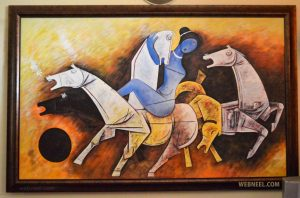 SIGNATURE: Husain was best known for his paintings of horses where he caught every detail of the noble animal