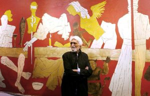 EXILED: MF Husain exiled himself to the Gulf to escape the thousands of arrest warrants issued against him by courts in India for paintings like Saitan (devil) which hinted at the agony he was facing