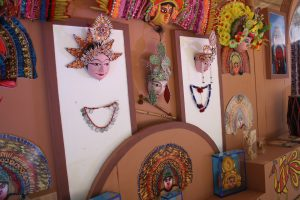 MASKS:  Colourful assortments of masks are used in enacting folk stories.