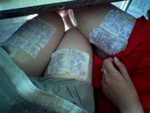 MINI CHEATING: Girls were found to have written notes on their thighs which they referred to while writing the exam