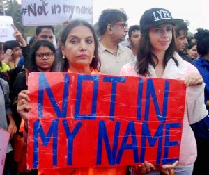 "STAR PROTESTS: Bollywood actors Shabana Azmi and Kalki Koechlin participating in the ""Not in My Name"" protest in Mumbai against the incidents of targeted lynching"