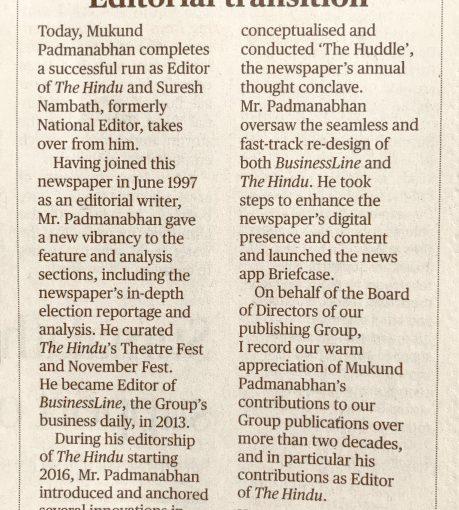Rare Tribute To Retiring Editor Mukund Padmanabhan